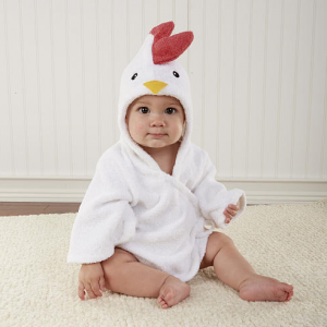 "Baby Aspen Neutral ""Barnyard Bathtime"" Chicken Hooded Spa Robe 0-9 Months"
