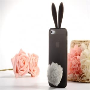 Rabito Bunny Ears Rabbit Furry Tail Smoke Grey Silicone 3D iPhone 5 5S Case