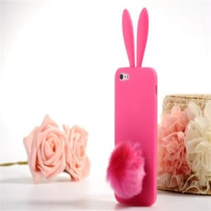 Rabito Bunny Ears Rabbit Furry Tail Hot Pink Silicone 3D iPhone 5 5S Case