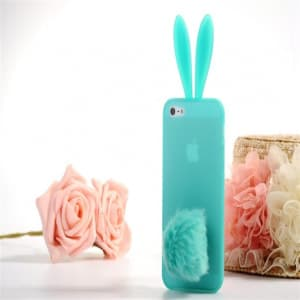 Rabito Bunny Ears Rabbit Furry Tail Turquoise Silicone 3D iPhone 5 5S Case