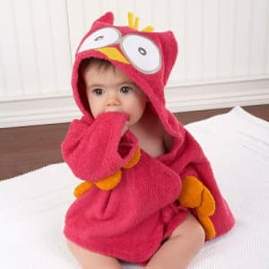 Baby Aspen My Little Night Owl Hooded Terry Spa Robe Pink