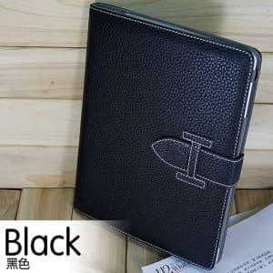 High Fashion Designer Inspiried H Leather Smart Cover Case iPad 2 iPad 3 - Black