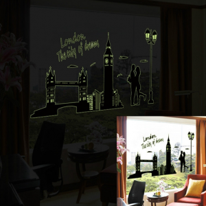 Glow in the Dark Wall Stickers City Themes London, New York, Paris