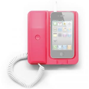 Pink Retro Telephone Phone X Phone iPhone Smartphone Dock Station Headset Headphone