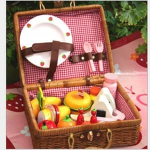 Mother Garden Handmade Wooden Pretend Play Toy--Bamboo Outdoor Picnic Set