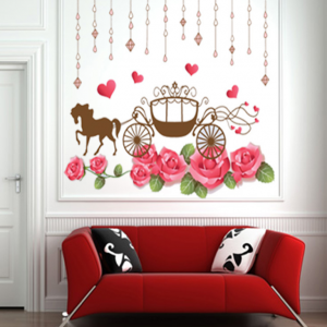 Carriage and Pink Flowers Wall Decal Sticker