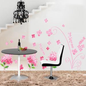 Pink Hydrangeas Flowers Wall Decal Sticker