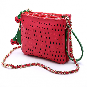 Strawberry Trio Clutch Purse with Chain Strap