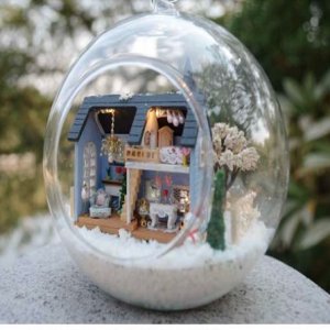 DIY Miniature House Model Glass Globe Ornament with Led Lights Blue House