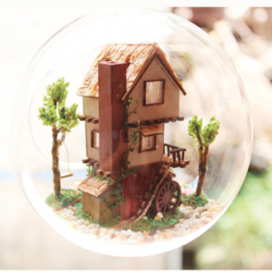 Forest Tree House DIY Miniature House Model Glass Globe Ornament with Voice Control Led Lights