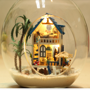 Aegean Sea Style DIY Miniature House Model Glass Globe Ornament