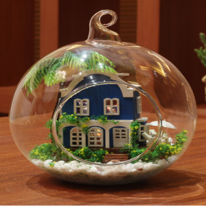 Blue House DIY Miniature House Model Glass Globe Ornament
