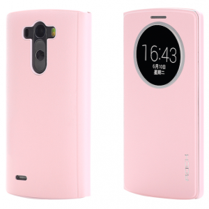 LG G3 Rock Quick Circle Leather Flip Case Pink