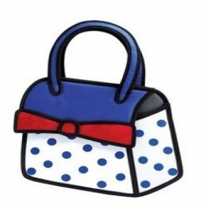 Jump From Paper Time Machine Limited Edition Cute 2D 3D Effect Cute Women Purse Polka Dot Bow