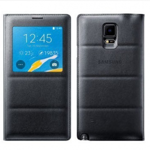 Samsung S-View Charcoal Black Flip Cover for Galaxy Note 4