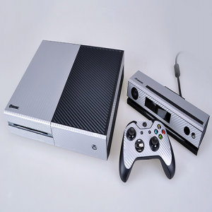 Xbox One Carbon Fiber Silver Black Vinyl Decal Skin for Console, Controller, Kinect