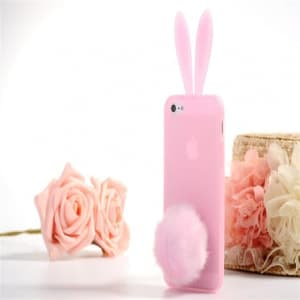 Rabito Bunny Ears Rabbit Furry Tail Light Pink Silicone 3D iPhone 5 5S Case