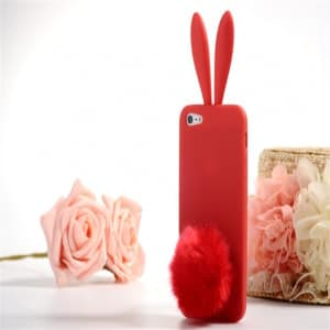 Rabito Bunny Ears Rabbit Furry Tail Red Silicone 3D iPhone 5 5S Case