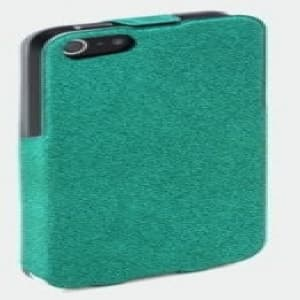 ROCK iPhone 5 5S Flip Folio Leather Case - Turquoise