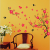 Pink Flowers Black Swallows Wall Decal Sticker